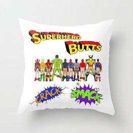 Superhero Butts Crack Smack Throw Pillow