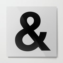 Ampersand black and white monochrome Helvetica typography poster design home wall bedroom decor Metal Print