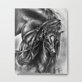 Horse Art / Horse Drawing / Gifts for Horse Lovers / Horse Wall Art / Horse Pencil Drawing / Equestrian Decor / Wall Decor / Mare and Foul Original Art / Animal Drawings Metal Print