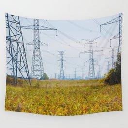 Landscape with power lines Wall Tapestry