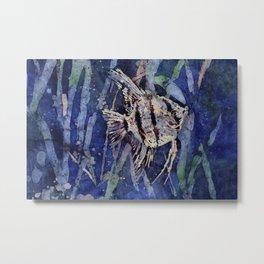Watercolor batik painting on rice paper of angelfish swimming Metal Print