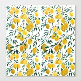 watercoor yellow lemon pattern Canvas Print