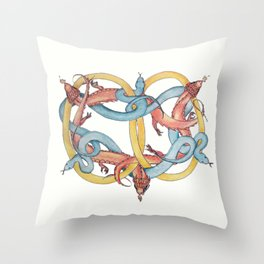 Dragons and Snakes Entwined Eternal Throw Pillow