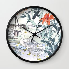 Couple Of Ducks And Tiger Lilies - Antique Japanese Woodcut Print Art By Kono Bairei Wall Clock
