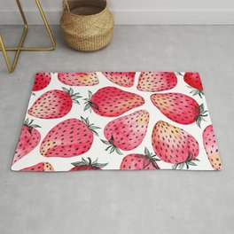 Strawberries watercolor and ink  Rug
