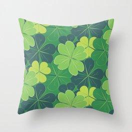 Decorative green shamrock leaves Throw Pillow