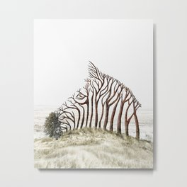Zebra Tree Illusion Metal Print