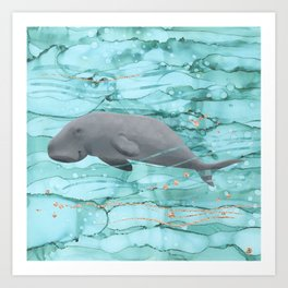 Cute Dugong Swimming Underwater  Art Print