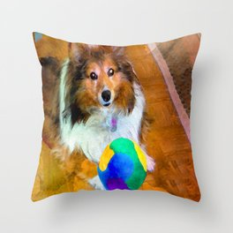 Sheltie with Ball Throw Pillow