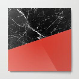Black Marble with Cherry Tomato Color Metal Print