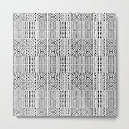 Black and White Geometric Hawaiian Kapa Cloth Metal Print