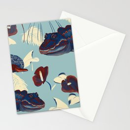 Tropical in red, light blue and dark blue  Stationery Cards