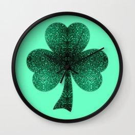 Emerald green shamrock clover sparkles Wall Clock