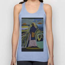 African American Masterpiece 'Experience America Harriet Tubman' by William Johnson Unisex Tank Top