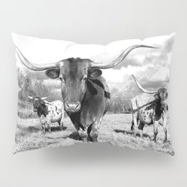 Longhorn Cattle Black and White Highland Cows  Pillow Sham