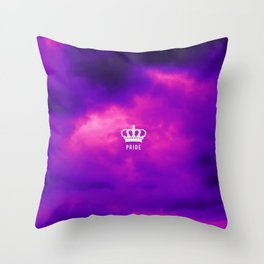 Purple clouds crown symbol Throw Pillow