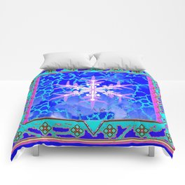 Blue Frozen Snowflake Abstract Art Comforters