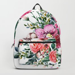 Hummingbird and Flowers Watercolor Animals Backpack