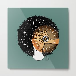 Afro Daisy - Viridian Green Metal Print