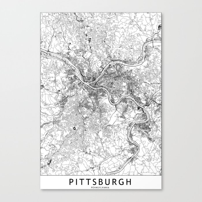 Pittsburgh White Map Leinwanddruck