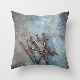 a bunch of nails Throw Pillow