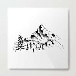 Mountain sketch. Hand drawn black mountains and forest, isolated on white. Metal Print
