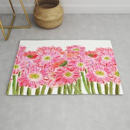 Pink Gerbera Daisy watercolor Rug