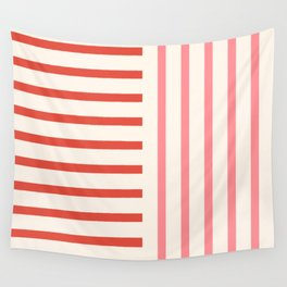 Perpendicular Lines 2 red and pink Wall Tapestry