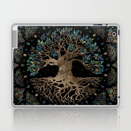 Tree of life -Yggdrasil Golden and Marble ornament Laptop & iPad Skin