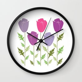 Violet Lilac Flowers Wall Clock