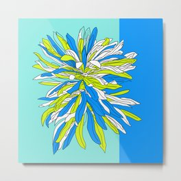 Colorful bold flourescent vibrant floral design blue version Metal Print