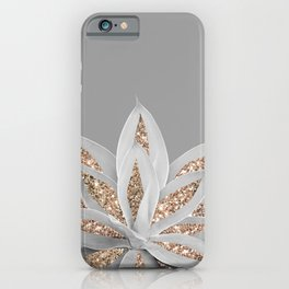 Gray Agave with Gold Glitter #1 #shiny #tropical #decor #art #society6 iPhone Case
