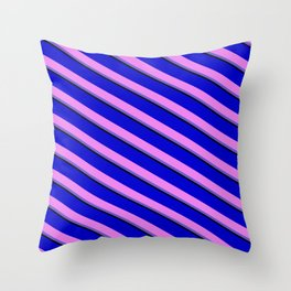 Blue, Violet, Slate Blue, and Black Colored Lines Pattern Throw Pillow