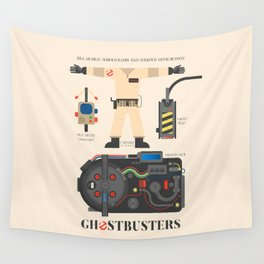 Ghostbusters movie poster, BIll Murray, Peter Venkman, Harold Ramis, proton pack, ghost trap Wall Tapestry