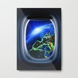 Airplane window with Earth, porthole #4 Metal Print