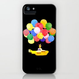 Flying Submarine with Colourful Balloons Black iPhone Case