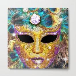 Golden Carnival Mask Metal Print