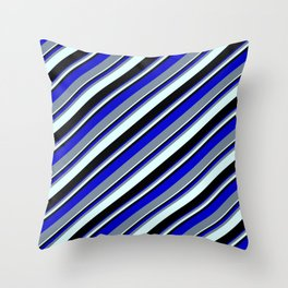 Blue, Light Slate Gray, Light Cyan, and Black Colored Lined/Striped Pattern Throw Pillow