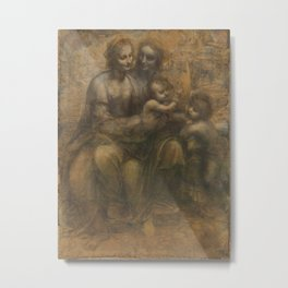 The Virgin and Child with St Anne and St John the Baptist by Leonardo da Vinci Metal Print