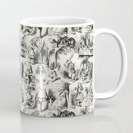 Alice in Wonderland | Toile de Jouy Pattern | Black | Beige | Vintage Pattern | Victorian Gothic | Kaffeebecher