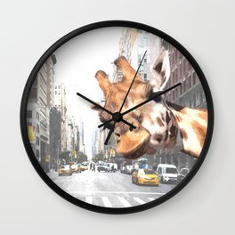 Selfie Giraffe in New York Wall Clock