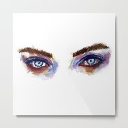Blue Eyes Watercolor Metal Print