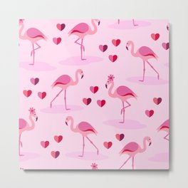 Pink Flamingos in Love pattern Metal Print