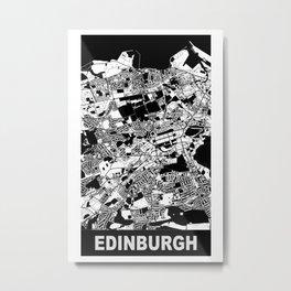 Edinburgh, Scotland, city map, Black & White Metal Print