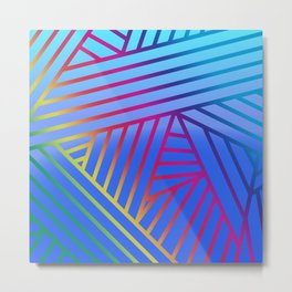 Rainbow Ombre Pattern with Blue Background Metal Print