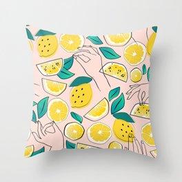 In Lemons We Trust #pattern #illustration Throw Pillow