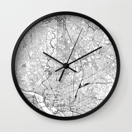 Washington D.C. White Map Wall Clock
