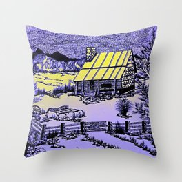 Mountain Cabin Sunrise Throw Pillow