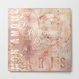 From Paris With Love In Salmon-Rosé Metal Print