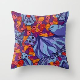 Bats and Fruit Throw Pillow
